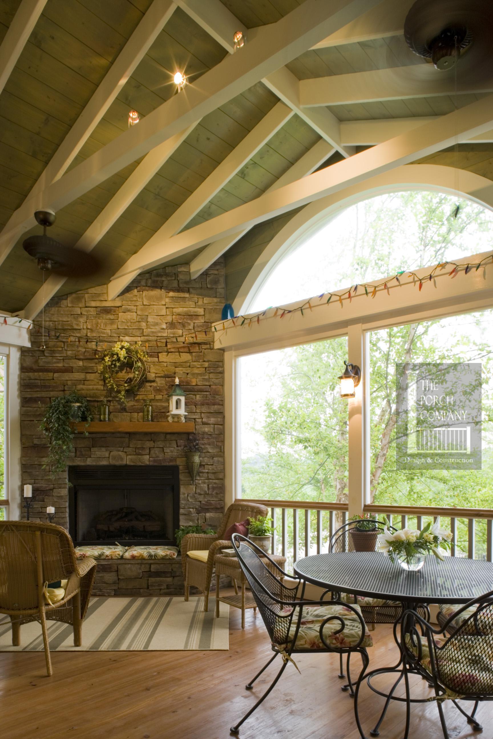 Porch ceiling beams the porch companythe porch company for Open porch