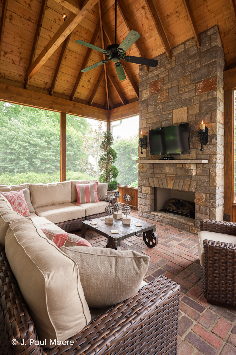 Screened In Porch Decorating Ideas With Fireplace