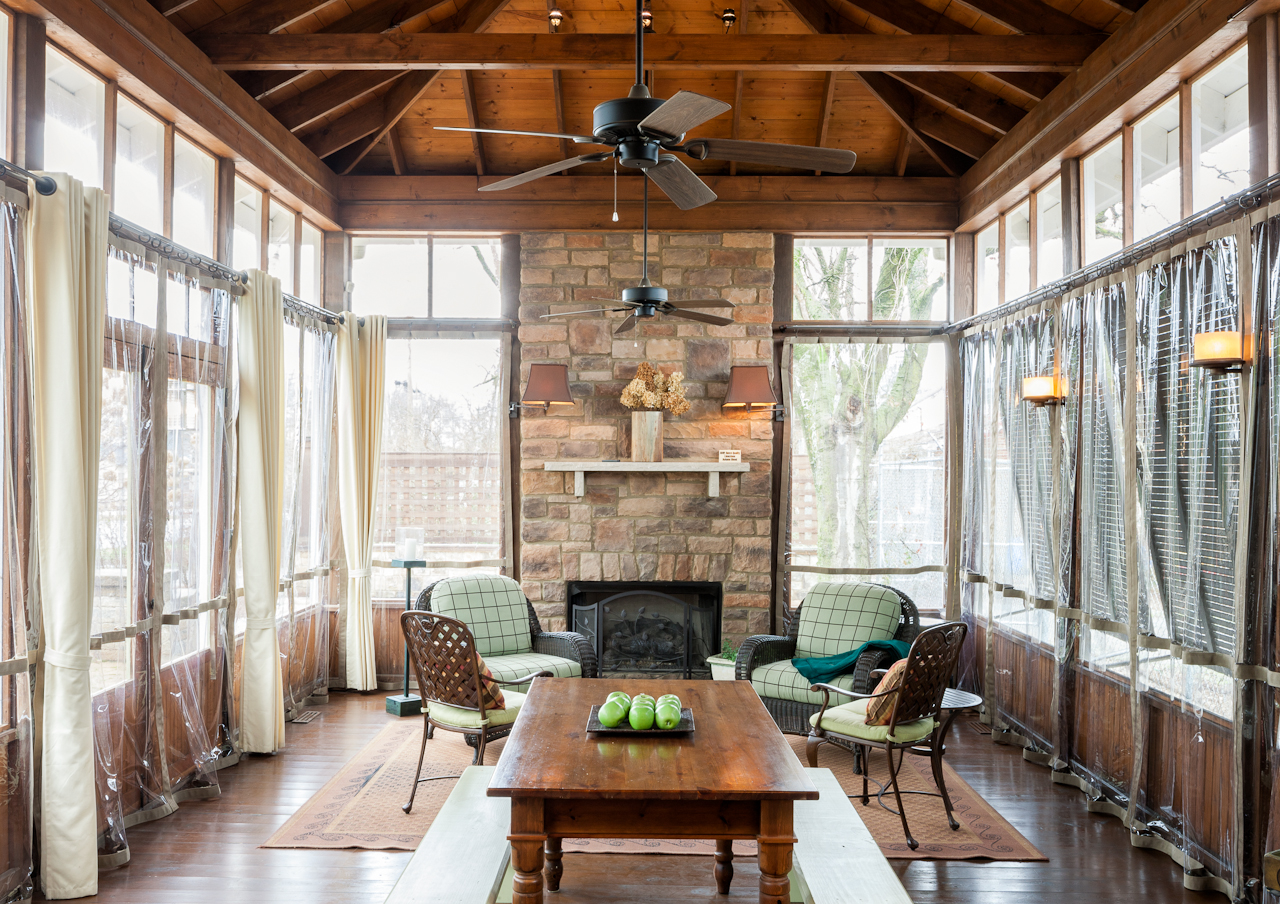 heat your porch all winter long - Screened In Porch Design Ideas