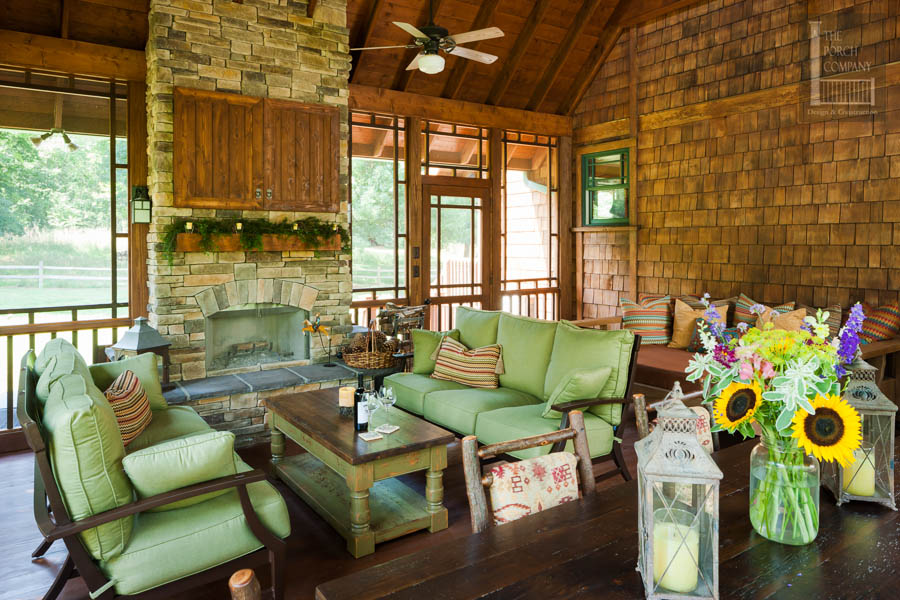screen porch fireplace. Large screened porch with decor  The Porch CompanyThe Company
