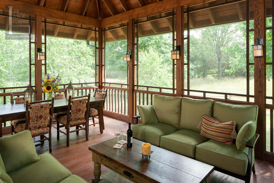 Attractive Covered Screened Patio Designs Back Porch Covered Screened Patio With Teak  Sofa Yellow Pillows And Lanterns