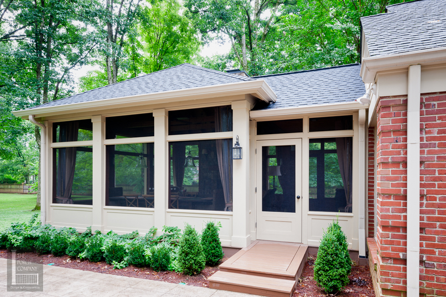 Screened Porch Exterior With Low Beadboard Walls