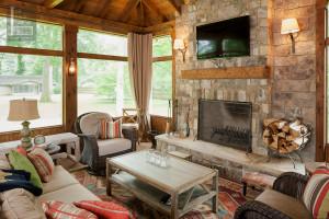 Screened Porch With Masonry Fireplace