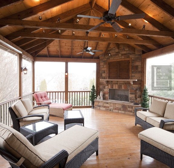 6-exposed-rafter-ceiling-with-stain-Nashville - The Porch CompanyThe Porch Company