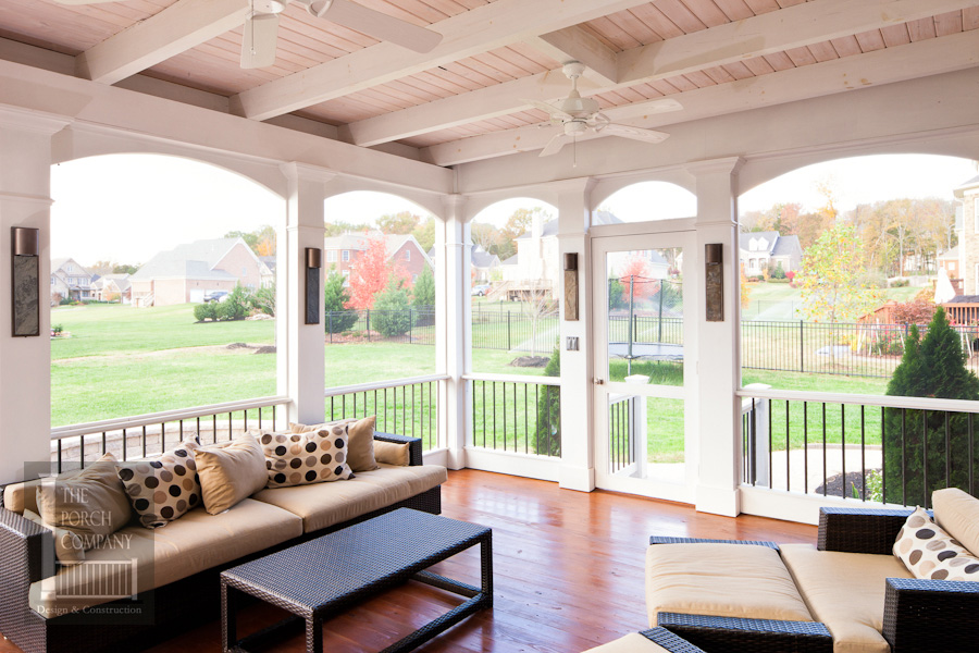 Brentwood screen porch white open airy design the porch for Open porch
