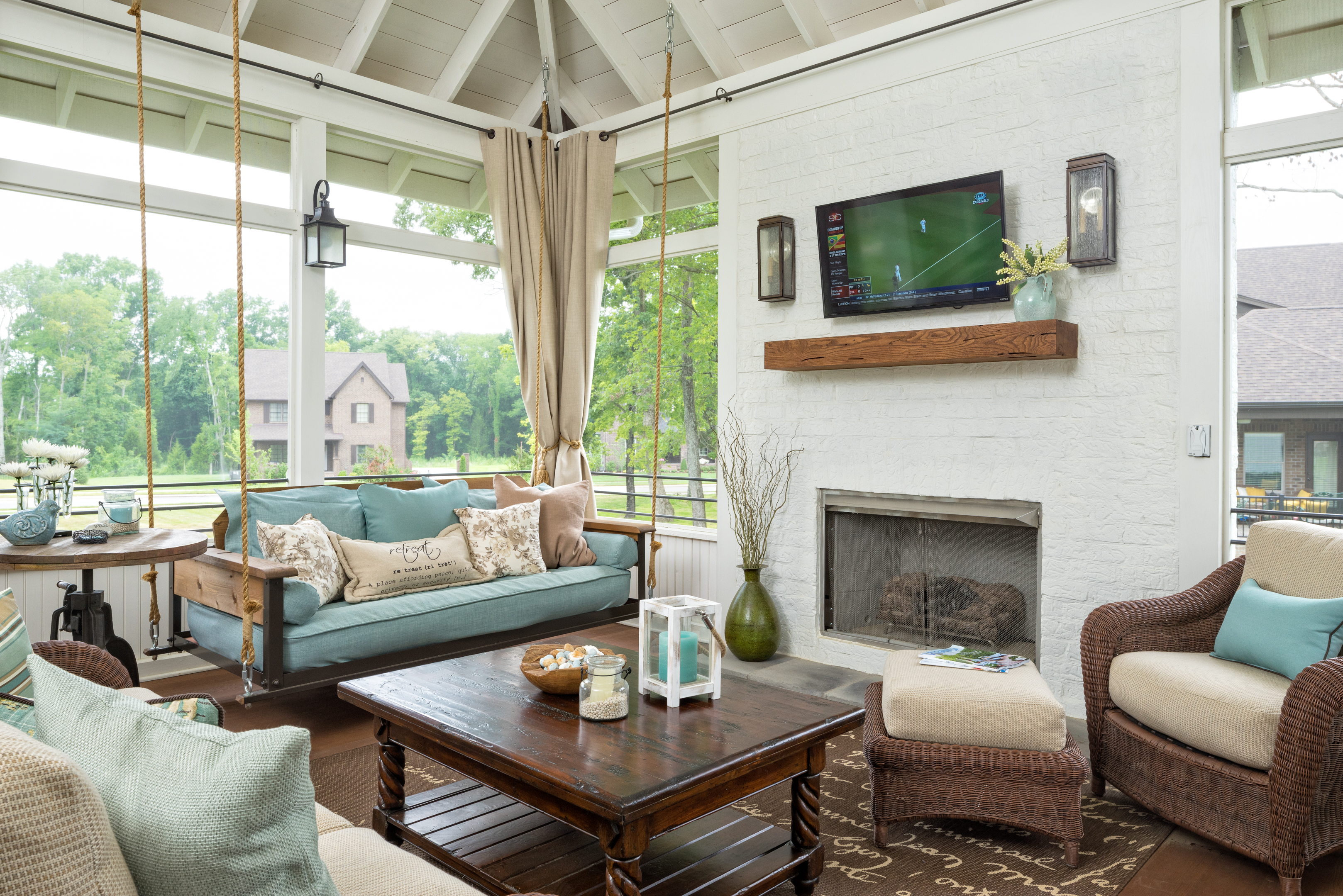 The cottage pine the porch companythe porch company for Screened in porch fireplace ideas