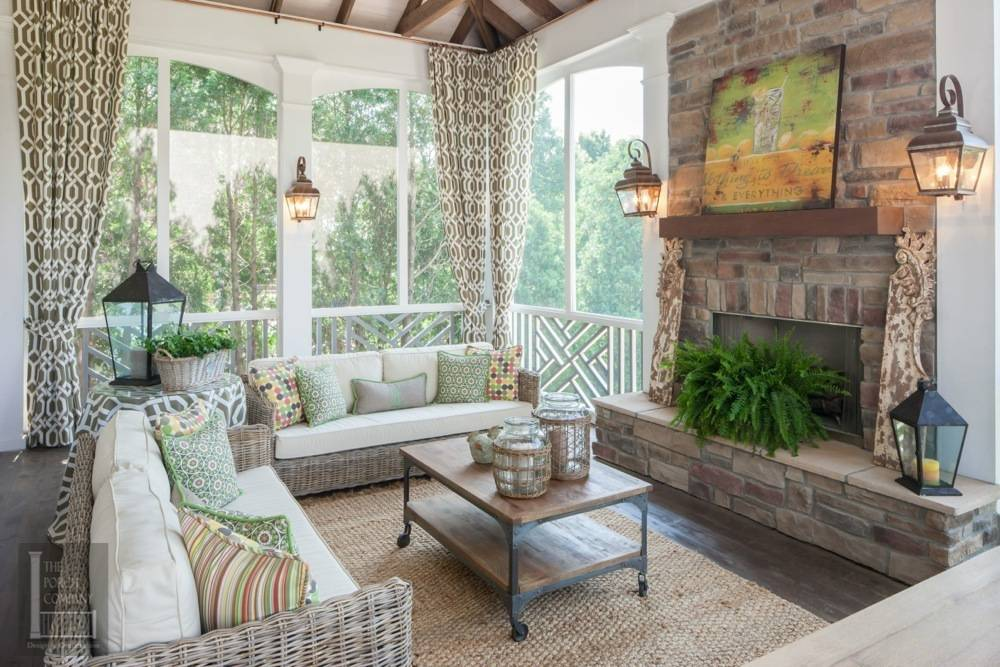 Portfolio the porch companythe porch company Screened in porch with fireplace