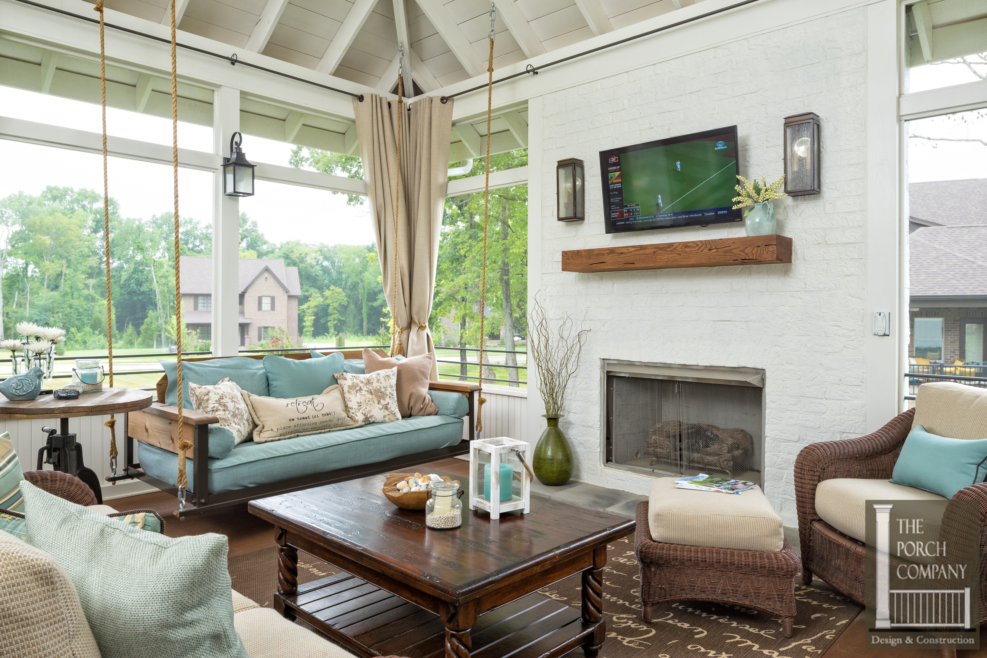 screened in porch with fireplace. Porch-screened-bed-swing-fireplace-mantel-har-13- Screened In Porch With Fireplace C