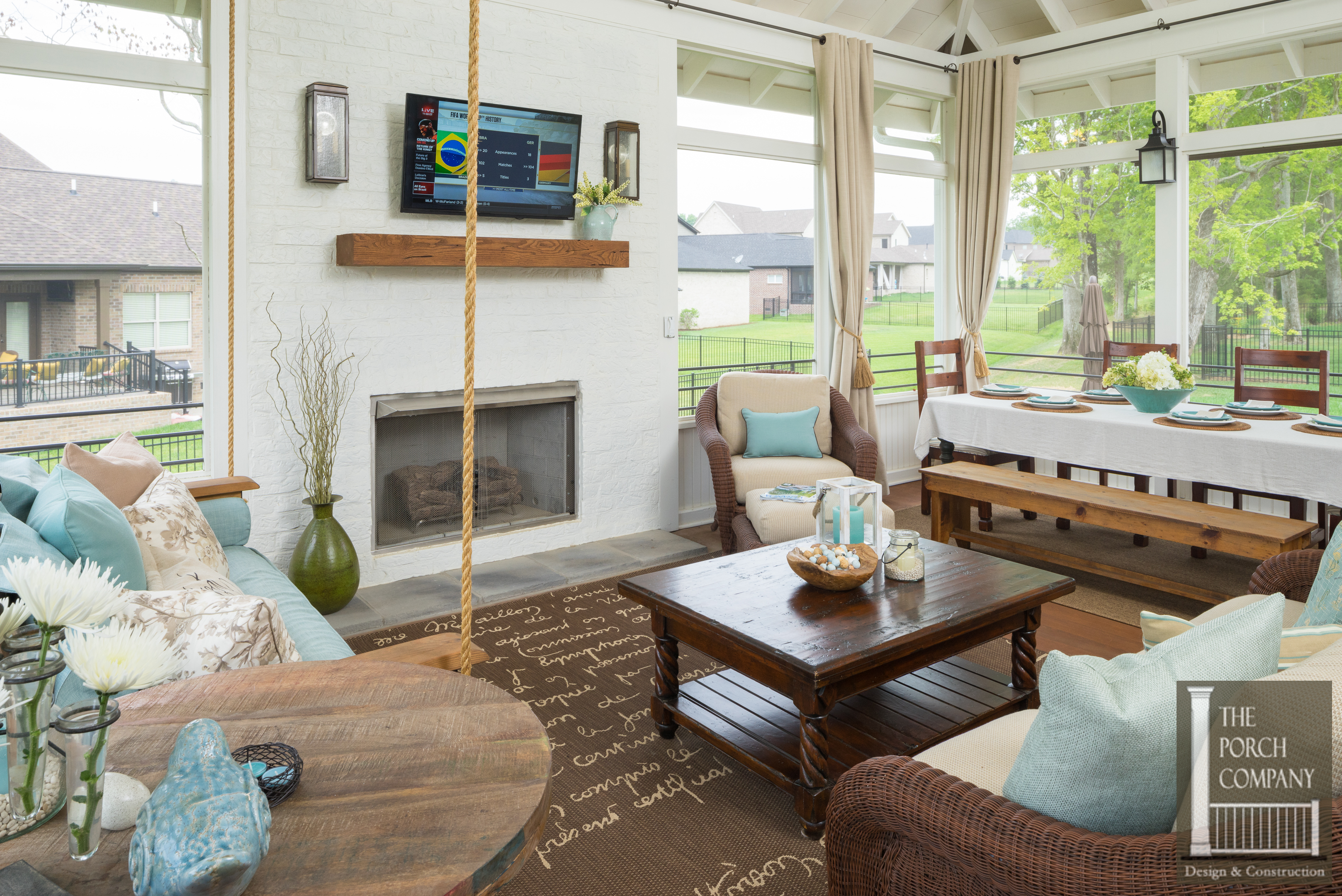 in of screen luxury design breeze attachment fireplace burning wood cost outdoor charlotte a eze porch with