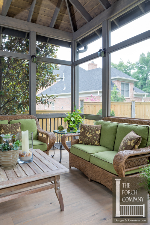 Soothing greys and cypress floors create small nashville for Cypress porch columns