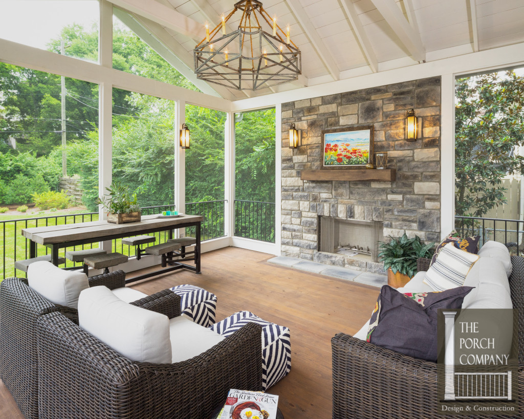 Screened porch and garage oasis the porch companythe for Screened in porch with fireplace