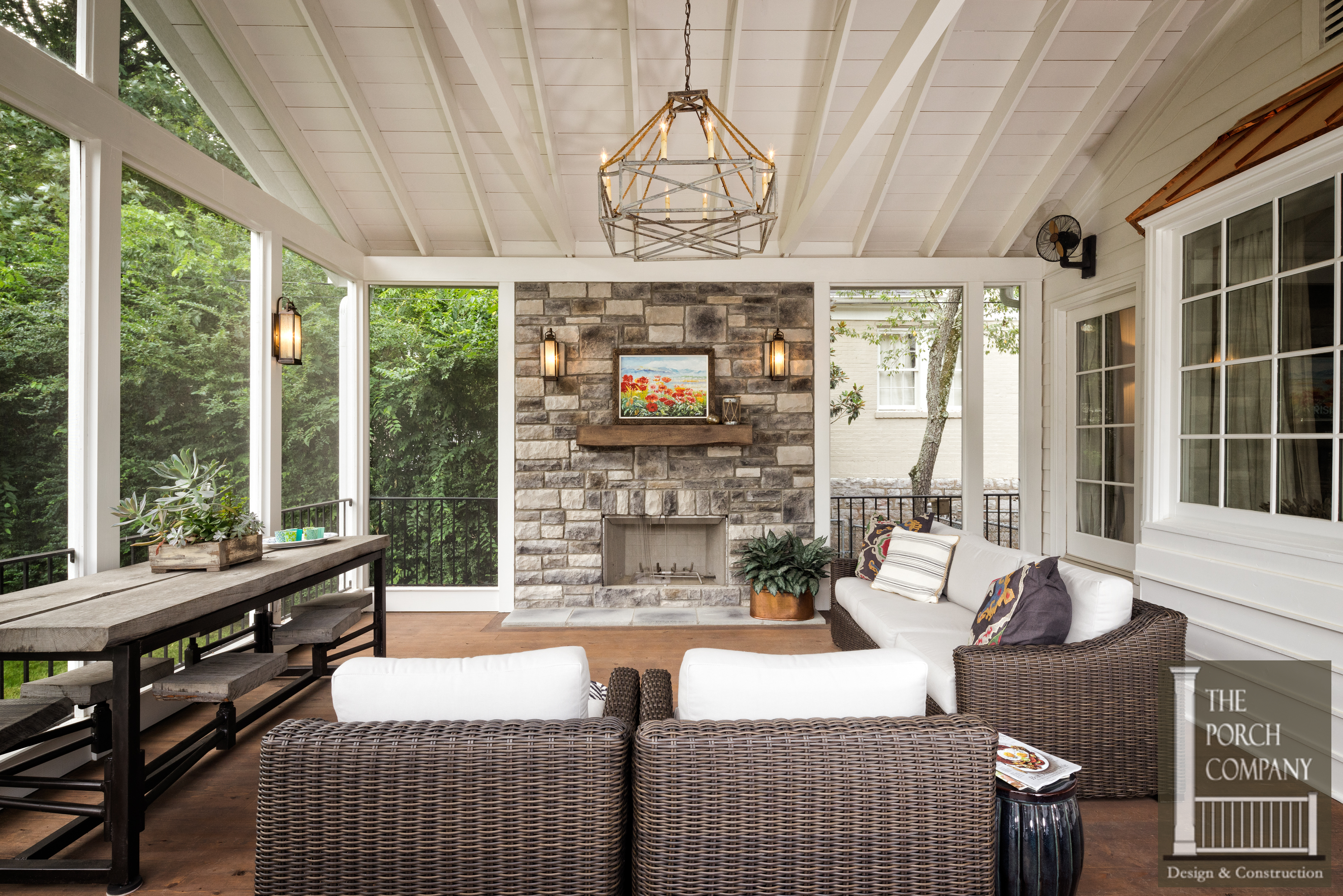 Screened In Porch With Fireplace Screened In Porch With