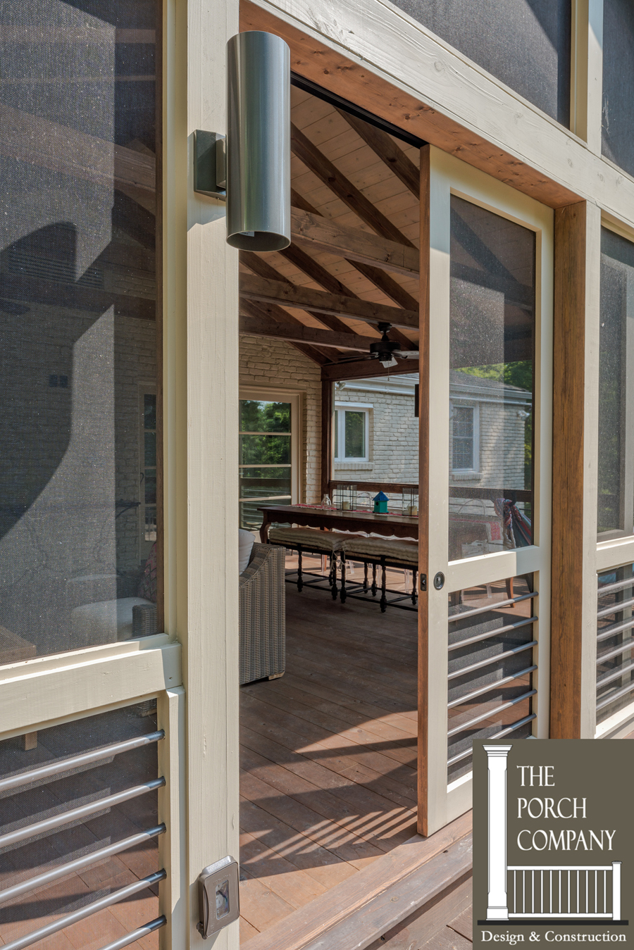 Long clean lines give this nashville porch a majestic for Cypress porch columns