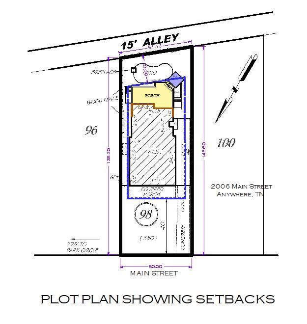 Plot plan showing setbacks.