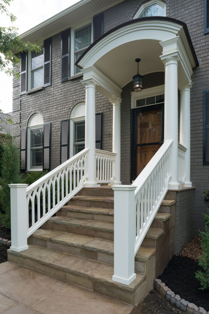 portico-custom-pvc-panels-railings-cathedral-picket-hermitage-sleeve-cap-sch-16