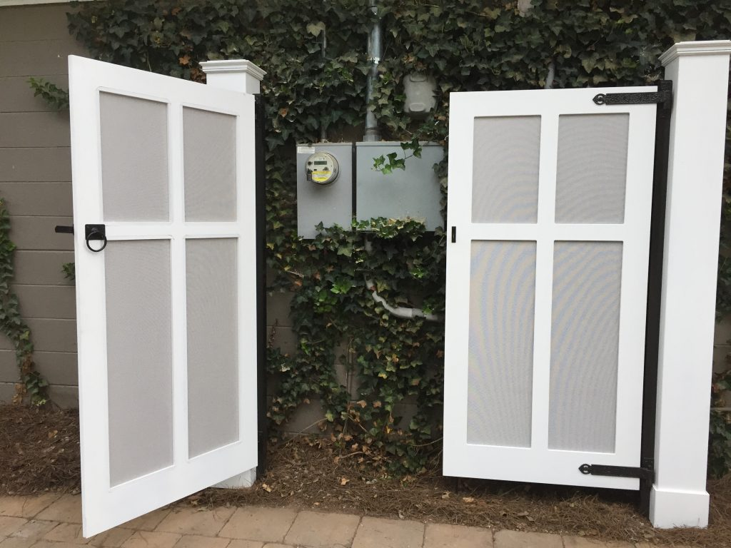 Porch Company Custom PVC gate with fabris inserts