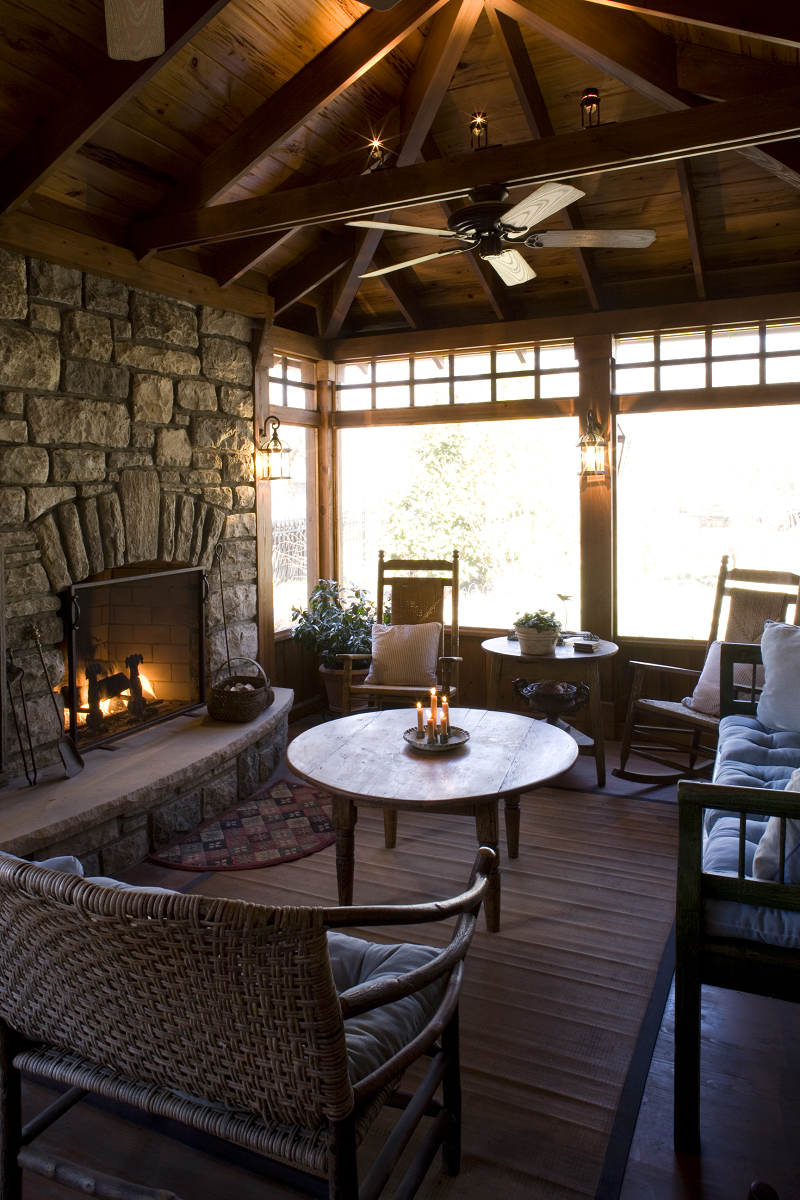porch company screened porch with custom fireplace