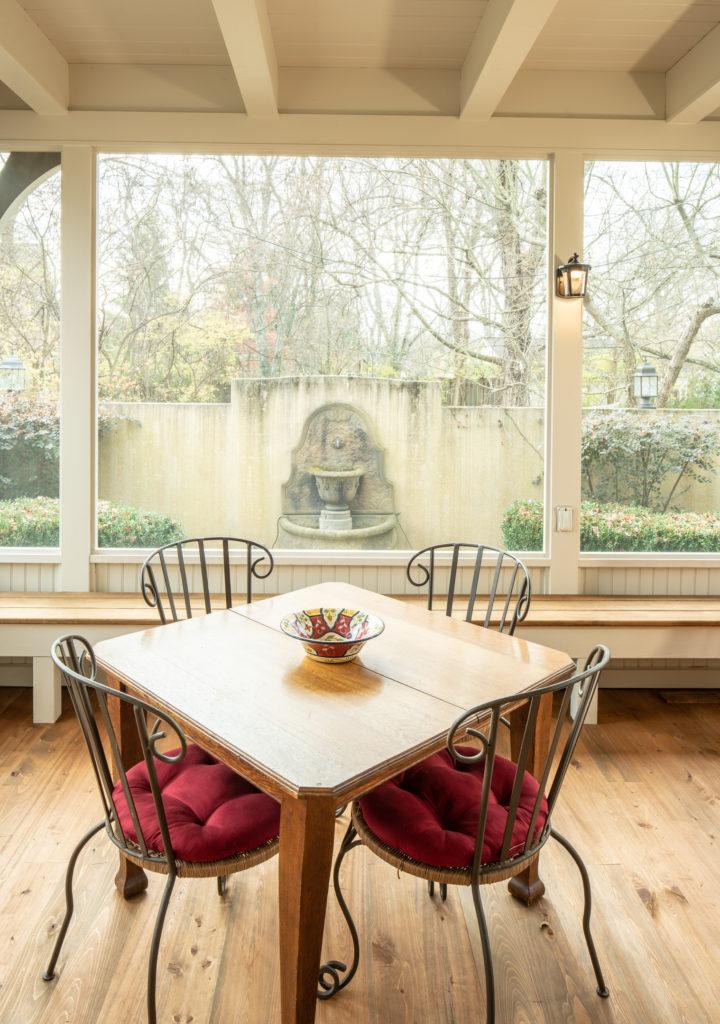 Screened porch overlooking garden