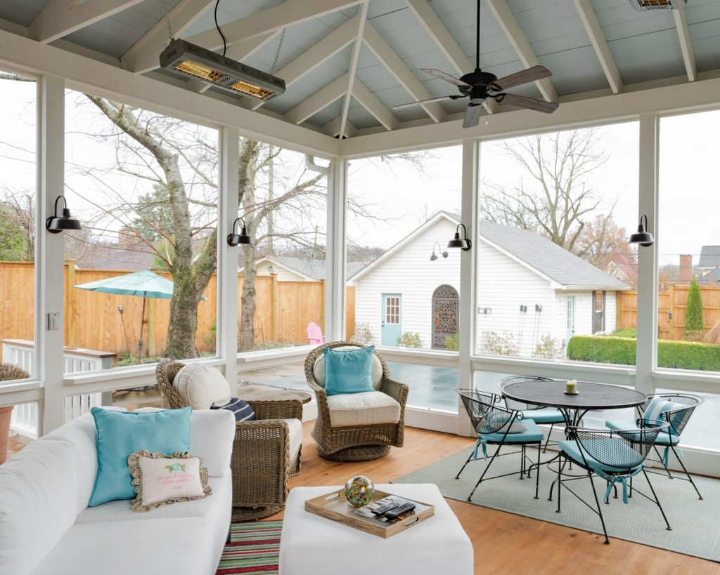 West Nashville porch with haint blue ceiling