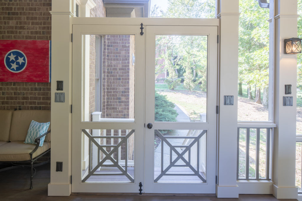 We custom design each screen door we make for each screened porch project we design and build