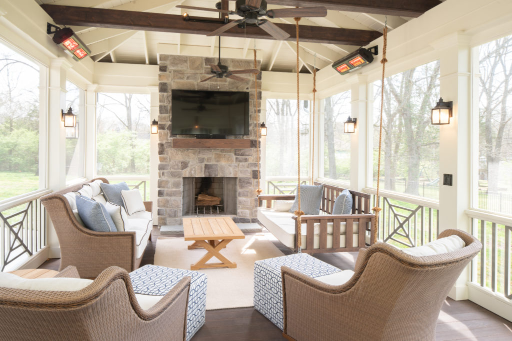 porch-screened-interior-bed-swing-craftsman-southern-cross-fireplace-mantel-smooth-finish-cypress-beams-