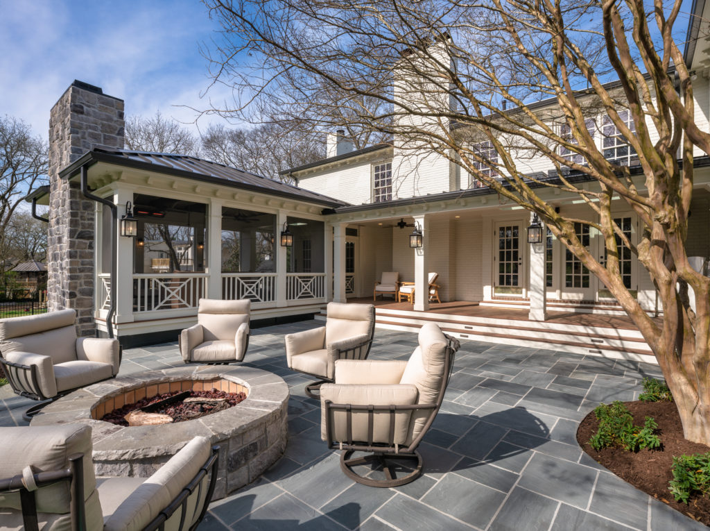 porch-screened-open-air-exterior-pavers-fire-pit-southern-cross-chimney