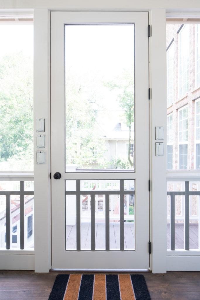 wooden screen door with this PVC Craftsman panel insert