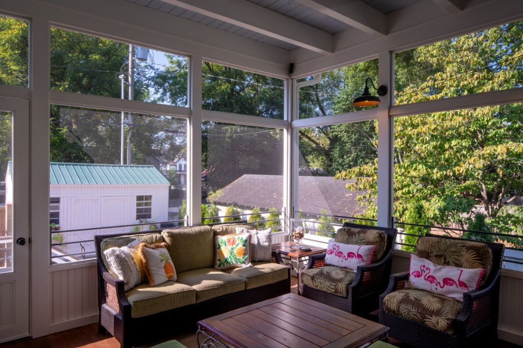 Colorful screened porch in 12 South