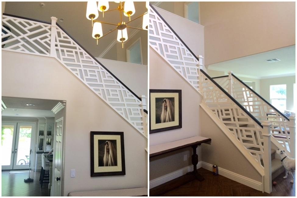 Custom porch panels used on interior stairway