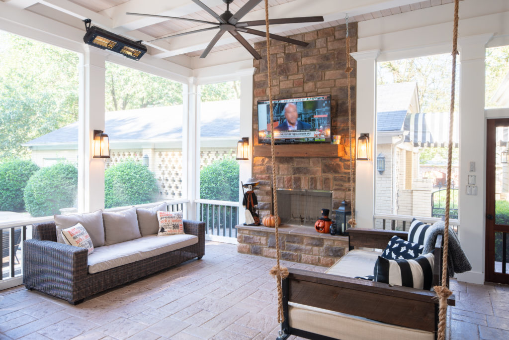 Nashville Screened Porch Incorporates Patio Floor and Fireplace