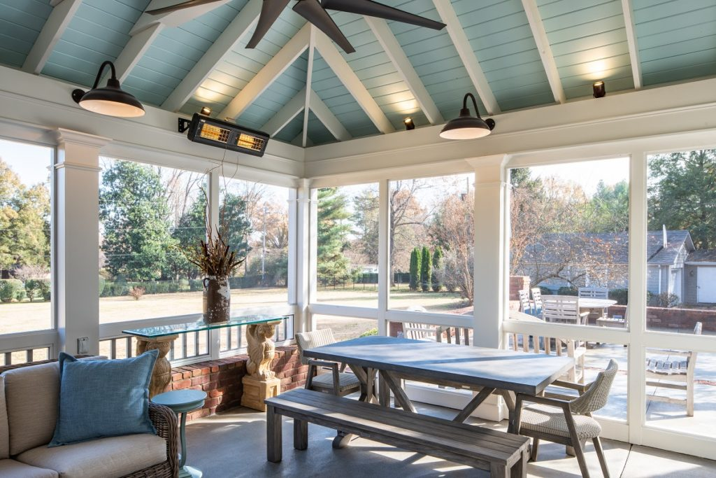 bellemeade screened porch with exposed rafters