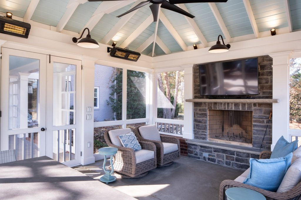 bellmeade screened porch with fireplace