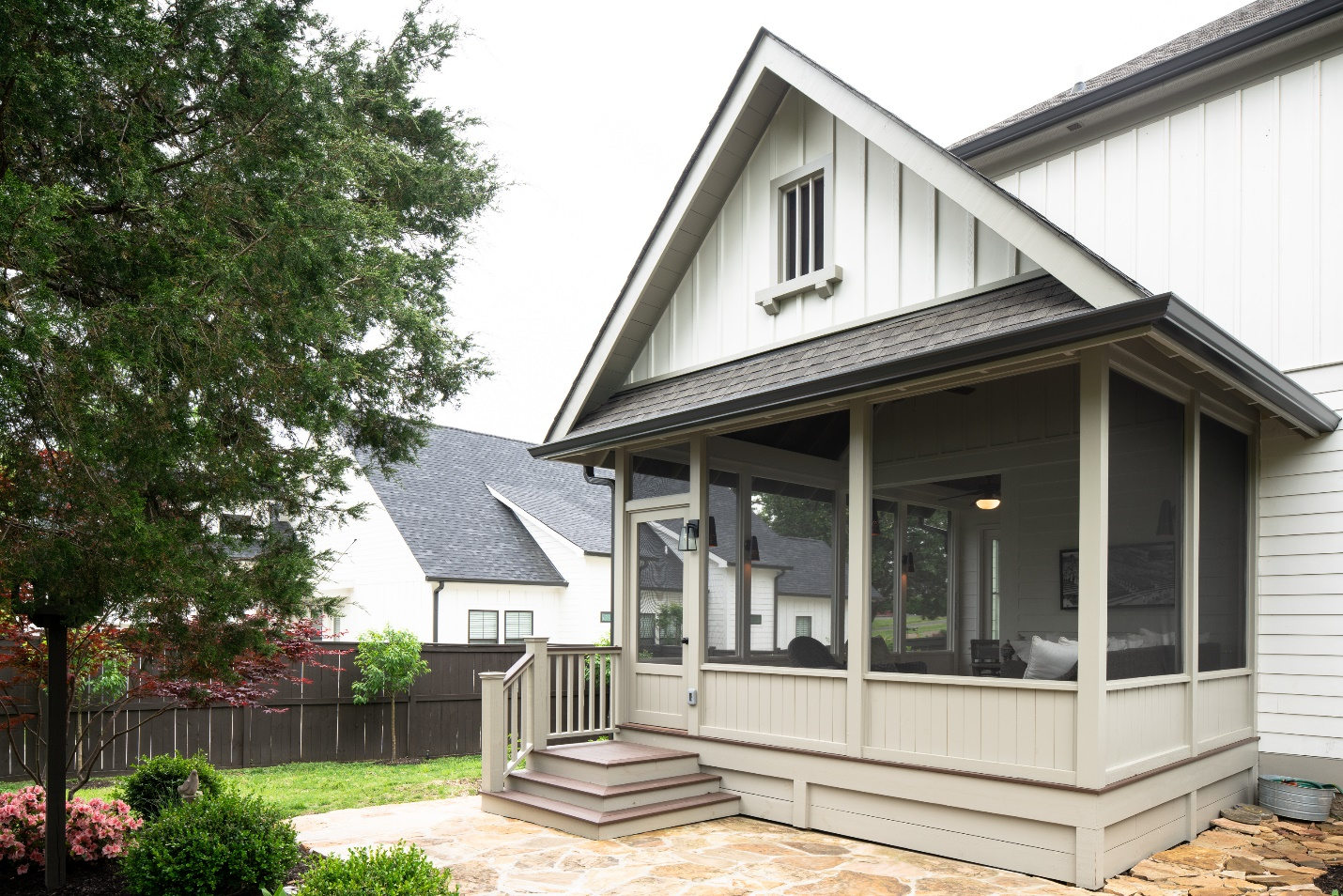 Hip roof on screened porch