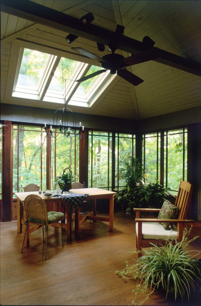 Hip roofed screened porch interior view