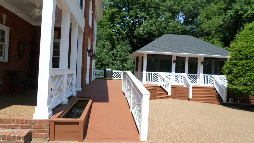 detached porch we built with a wooden deck between the house and the porch
