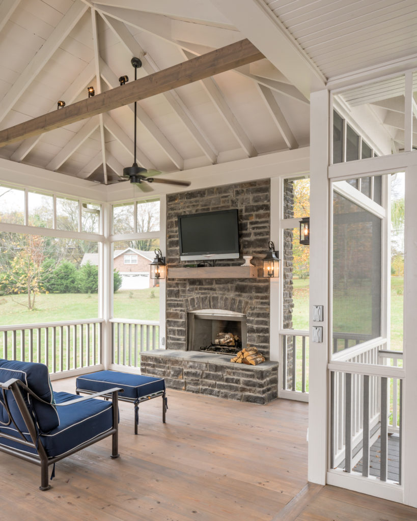 Hip Roof Vaulted Porch Ceiling with Exposed Rafters