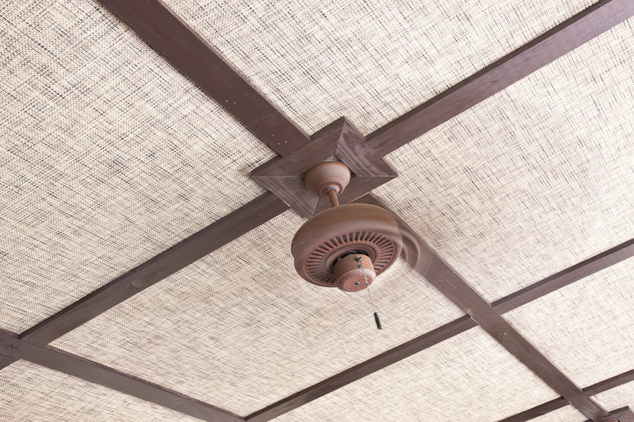 Flat Porch Ceiling with Fabric and Lath Strips