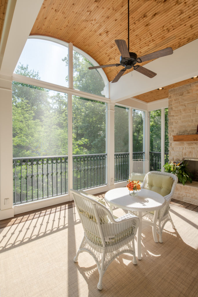Vaulted barrel beadboard screened porch ceiling