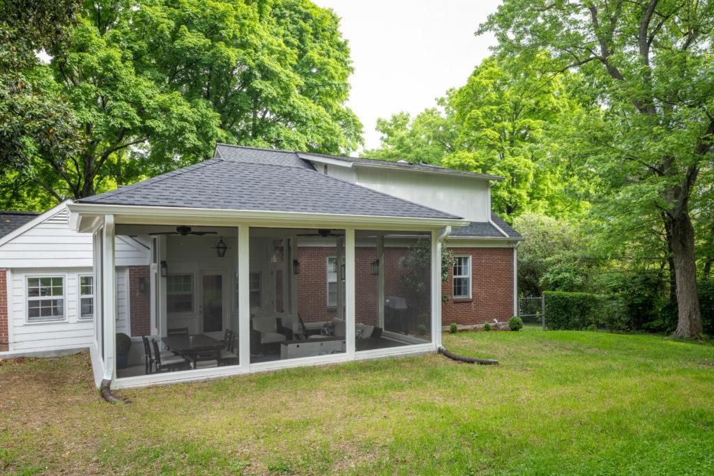 Sunken screened porch design in south Nashville