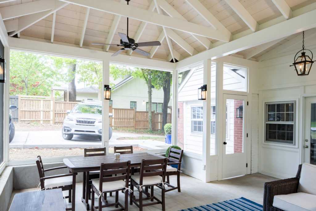 screened porch interior in south Nashville, TN