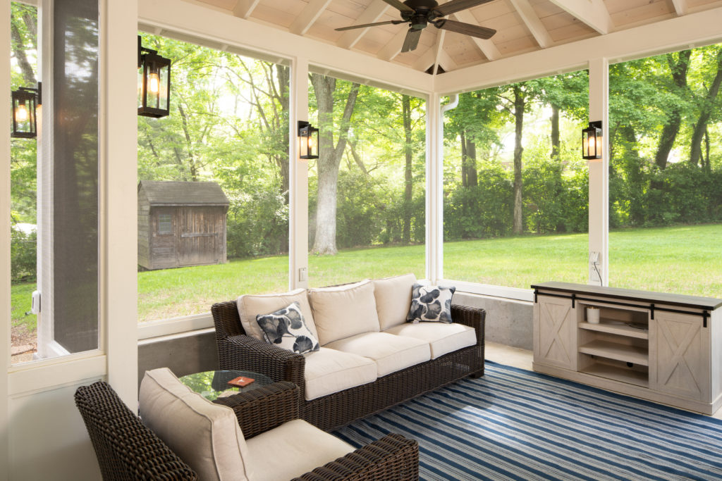 Fresh and modern screened porch design in south Nashville