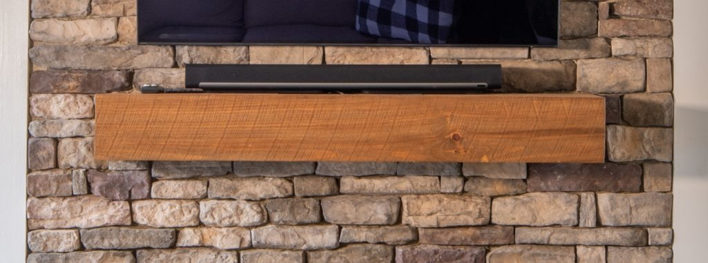 Custom circle-sawn cedar mantel