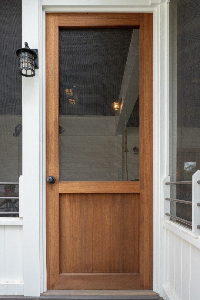 Wood panel screened porch door