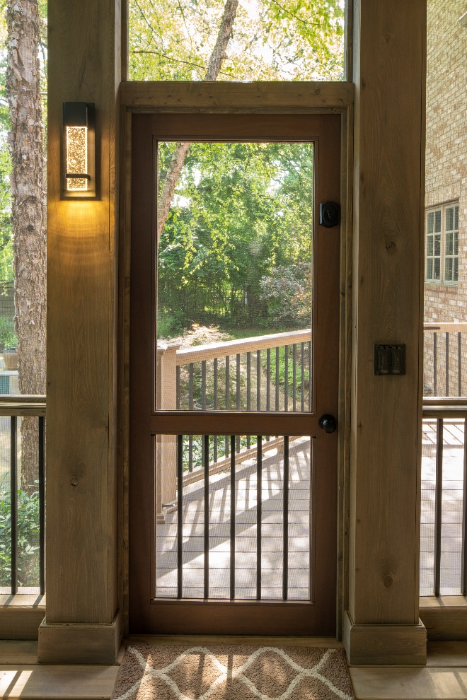 Green Hills TN screened porch door and decorative sconce detail