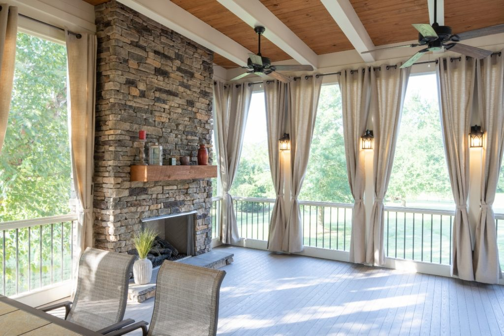 Dual-tone beamed ceiling in West Nashville screened porch
