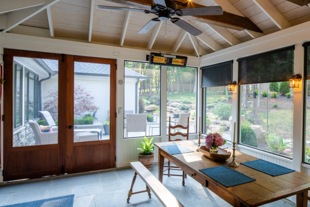 Franklin TN screened porch design with farmhouse table