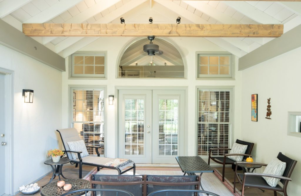 Nashville TN porch design with open rafters and exposed beams