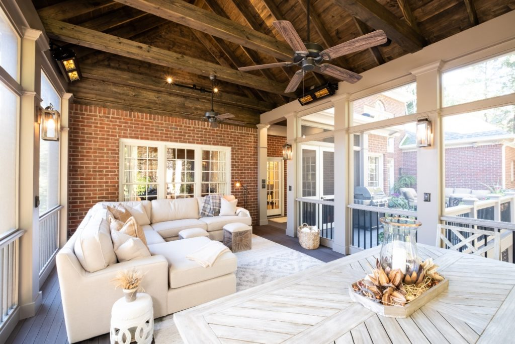 Open rafter, exposed beam screened porch in Brentwood TN