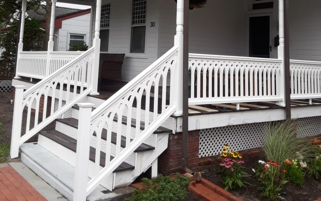 Cathedral Picket railing available at the Porch Store