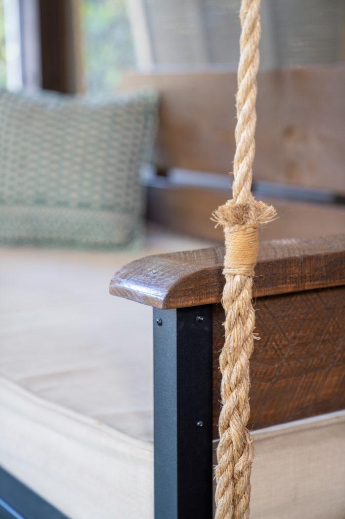 rope on pine sawn swing